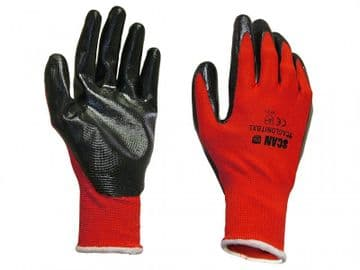 Palm Dipped Black Nitrile Gloves - M (Size 8)